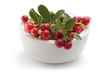 Cowberry in white bowl