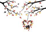 birds on autumn tree in heart nest, vector