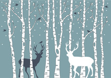 birch trees with deer, vector background