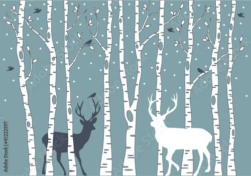 birch trees with deer, vector background © beaubelle