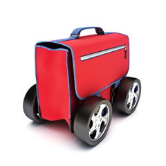 Traveling suitcase on wheels, road travel concept