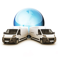 Truck Courier World wide concept with room for copy space