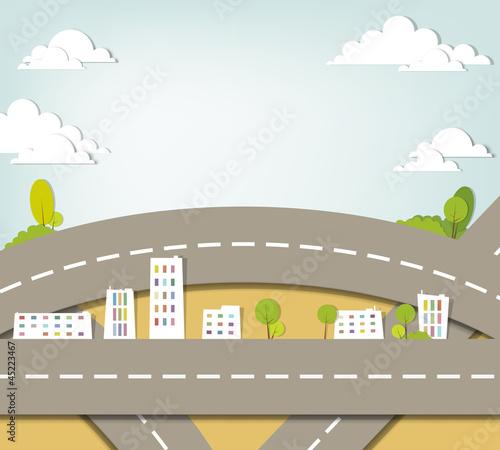 Foto op Plexiglas Op straat urban landscape. vector applique.