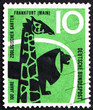 Postage stamp Germany 1958 Giraffe and Lion