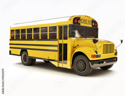 Leinwanddruck Bild School bus with white top isolated on a white background