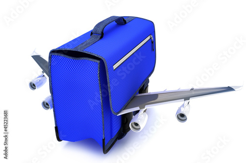 Traveling blue suitcase with wings,airline travel concept