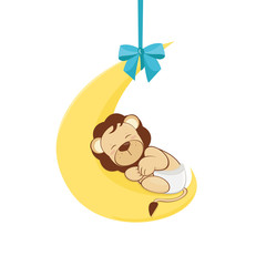 baby shower - baby lion sleeps on the moon