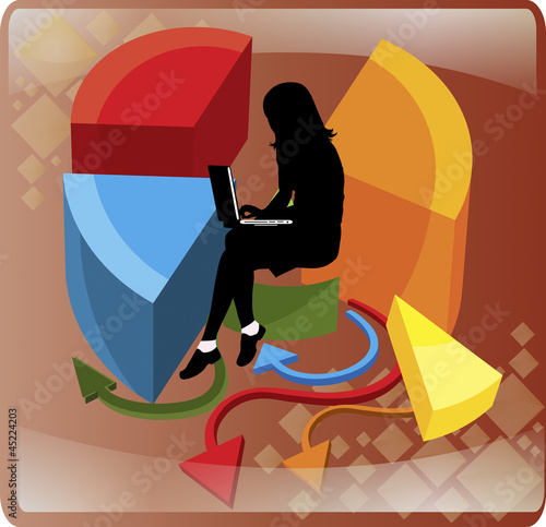 business woman in the center of a pie chart