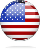illustrated image of a badge with stars and stripes poster
