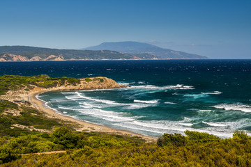 Greek bay with a sand beach