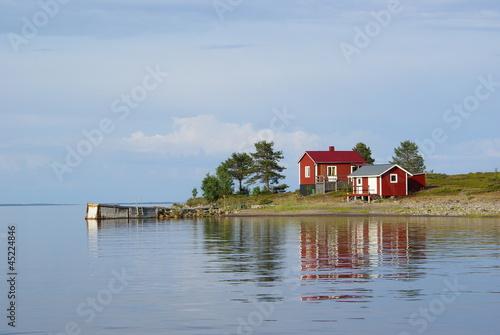 Fototapeten,archipelago,rot,cottage,wasser