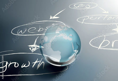 seo  abstract search icon with globe