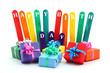Happy Birthday - Konzept mit bunten Geschenkpäkchen