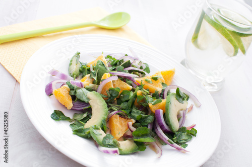 Watercress salad with onions, oranges and avocado