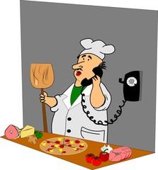 pizza man in kitchen over white