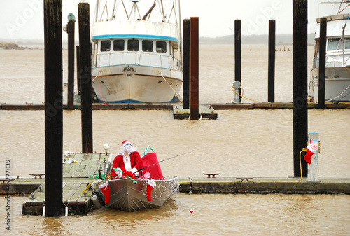 Santa Claus Fishing in the Bay - 45227039