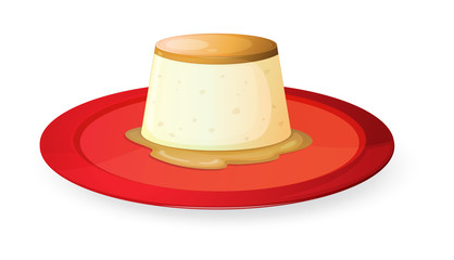 pudding in red dish
