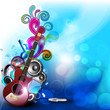 Colorful abstract speakers background with guitar. EPS 10.