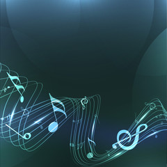 Vector musical background with colorful musical notes and waves