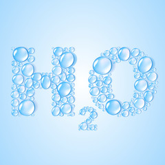 water drops H2O shaped -  vector background