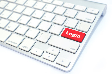 sign in or login on internet  concept with keyboard