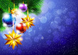New Year background with Christmas tree and decorations
