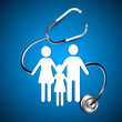 Abstract heath care background with white silhouette of a family