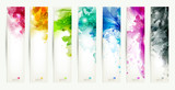 Fototapety set of seven varicolored banners, abstract headers with blots