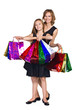 mother and daughter in elegant  dresses  with many colorful bags