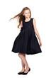 long-haired girl in elegant black dress