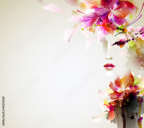 Fotobehang Floral Vrouw Beautiful fashion women with abstract design elements