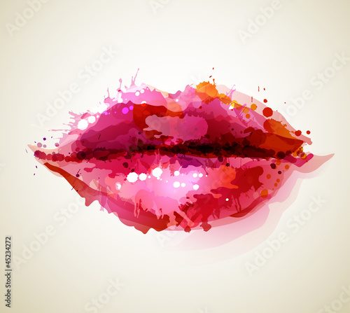 Beautiful womans lips formed by abstract blots