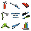 Barbershop vector objects, hairdresser accessories