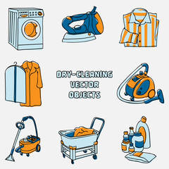Dry-cleaning and laundry vector objects