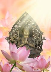 仏像と蓮の花