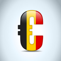 Euro Symbol with Belgium Flag