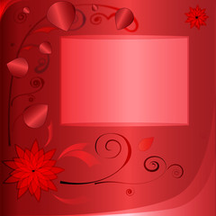 red background with curves and photo frame