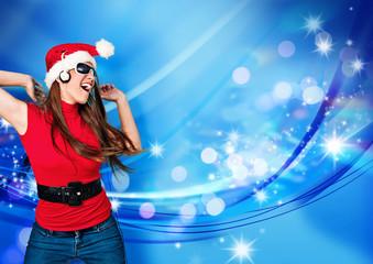 missis santa 12/tanzendes Santagirl vor Glitzerhintergrund