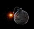 Leinwanddruck Bild - Vintage bomb with the world map
