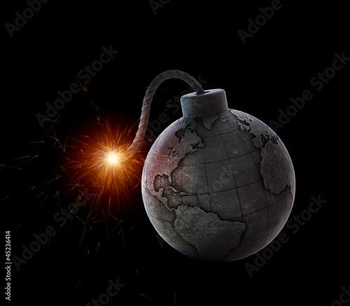 Leinwanddruck Bild Vintage bomb with the world map