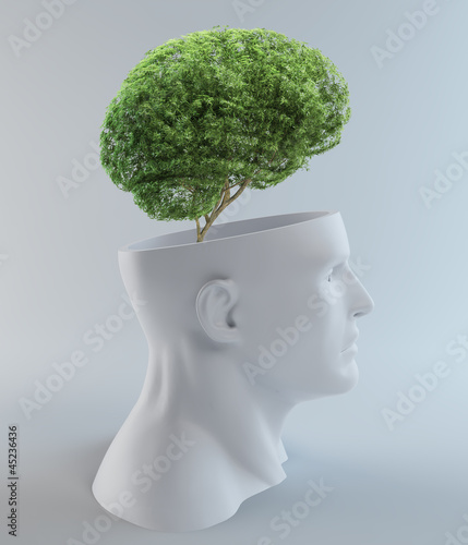 Tree growing out of an abstract  head