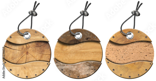 Set of Grunge Circular Wooden Tags - 3 items