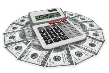 Dollars banknotes with calculator