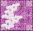 square design with light pink orchids