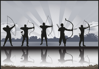 group of archers with reflection