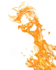 isolated on white yellow fire