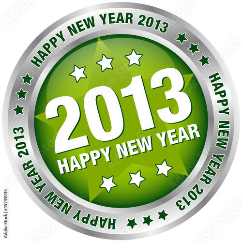 "Button ""2013 - Happy New Year"" Green/Silver"