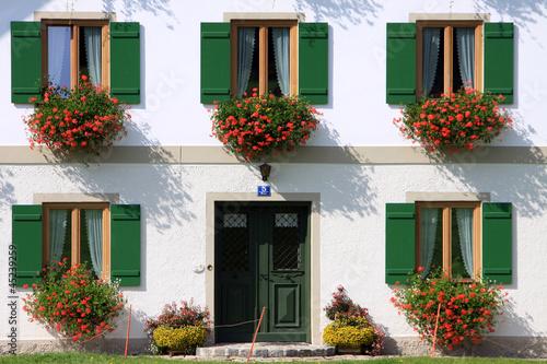Bauernhaus mit Blumenkästen