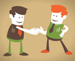 Retro Corporate Guys enjoy a handshake.