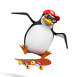 3d Penguin in baseball cap does skateboard jump